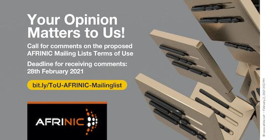 Call for Comments on the AFRINIC Mailing Lists Terms of Use